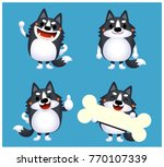 vector set of siberian husky... | Shutterstock .eps vector #770107339