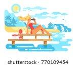 cute woman lifeguard looking... | Shutterstock .eps vector #770109454