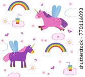 cute magic with unicorns and... | Shutterstock .eps vector #770116093