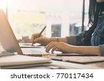 freelance graphic designer... | Shutterstock . vector #770117434