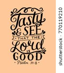 hand lettering tasty and see... | Shutterstock .eps vector #770119210