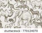 animals of wild world seamless... | Shutterstock .eps vector #770124070