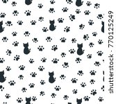 cats and paw print seamless... | Shutterstock .eps vector #770125249