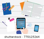 school business objects on a... | Shutterstock .eps vector #770125264