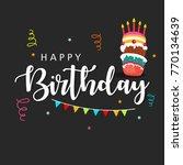 happy birthday wishing greeting ...   Shutterstock .eps vector #770134639