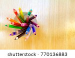 colorful crayon in the water... | Shutterstock . vector #770136883