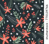 hand drawn floral christmas... | Shutterstock .eps vector #770139766