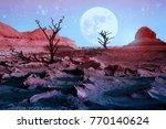 lonely dry trees in the desert... | Shutterstock . vector #770140624