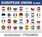 european union flags button set