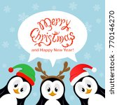 text merry christmas and happy... | Shutterstock . vector #770146270