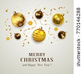 gold christmas balls with... | Shutterstock . vector #770146288