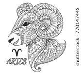 zen art design of aries zodiac... | Shutterstock .eps vector #770147443