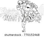 vector art drawing of balloon... | Shutterstock .eps vector #770152468