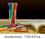 chalkboard with pecil  pen ... | Shutterstock . vector #770153716