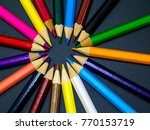 many different colored pencils ... | Shutterstock . vector #770153719