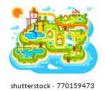 aquapark plan with water slides.... | Shutterstock .eps vector #770159473