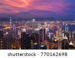 hong kong. sunset over victoria ... | Shutterstock . vector #770162698
