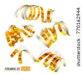 set of gold streamers on white. ... | Shutterstock .eps vector #770162944