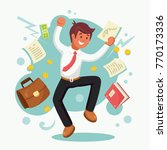 businessman  employee jumping... | Shutterstock .eps vector #770173336