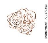 beautiful five   3   roses line ... | Shutterstock .eps vector #770178553