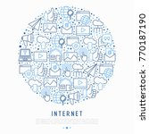 internet concept in circle with ... | Shutterstock .eps vector #770187190