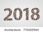 happy new year 2018. large and... | Shutterstock .eps vector #770205964