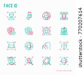 face id thin line icons set ... | Shutterstock .eps vector #770207614