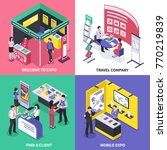 isometric expo stand exhibition ...   Shutterstock .eps vector #770219839
