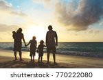 happy family with tree kids... | Shutterstock . vector #770222080