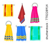 set of multi colored towels.... | Shutterstock .eps vector #770228914