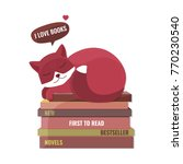 cute fox dreaming on the books. ... | Shutterstock .eps vector #770230540