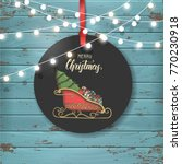 christmas vintage label with... | Shutterstock . vector #770230918