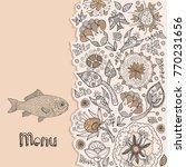 menu. fish restaurant   Shutterstock .eps vector #770231656