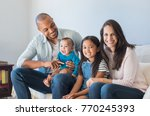 portrait of happy multiethnic... | Shutterstock . vector #770245393