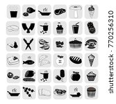 food icon set. black icons.... | Shutterstock .eps vector #770256310
