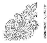 mehndi flower pattern for henna ... | Shutterstock .eps vector #770258749