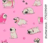 Stock vector seamless pattern with cute cartoon pug 770259049
