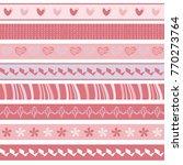set of cute pink seamless... | Shutterstock .eps vector #770273764