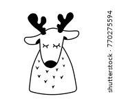 deer. christmas reindeer sleep. ... | Shutterstock .eps vector #770275594