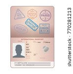 template of an open passport... | Shutterstock .eps vector #770281213