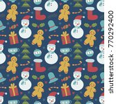 christmas pattern with... | Shutterstock .eps vector #770292400