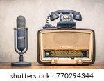 retro broadcast table radio... | Shutterstock . vector #770294344