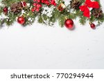 christmas background. red... | Shutterstock . vector #770294944