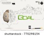 brain   pencil sketch   icon... | Shutterstock .eps vector #770298154