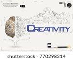 brain   pencil sketch   icon... | Shutterstock .eps vector #770298214