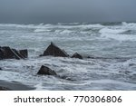 waves wash the wreckage of the... | Shutterstock . vector #770306806