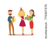 guests  man and woman  giving... | Shutterstock .eps vector #770307370