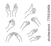 thin line drawing black hands... | Shutterstock .eps vector #770310406