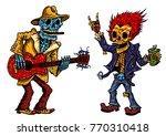funny skeleton playing guitar... | Shutterstock .eps vector #770310418