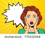 pop art surprised female face... | Shutterstock .eps vector #770310568